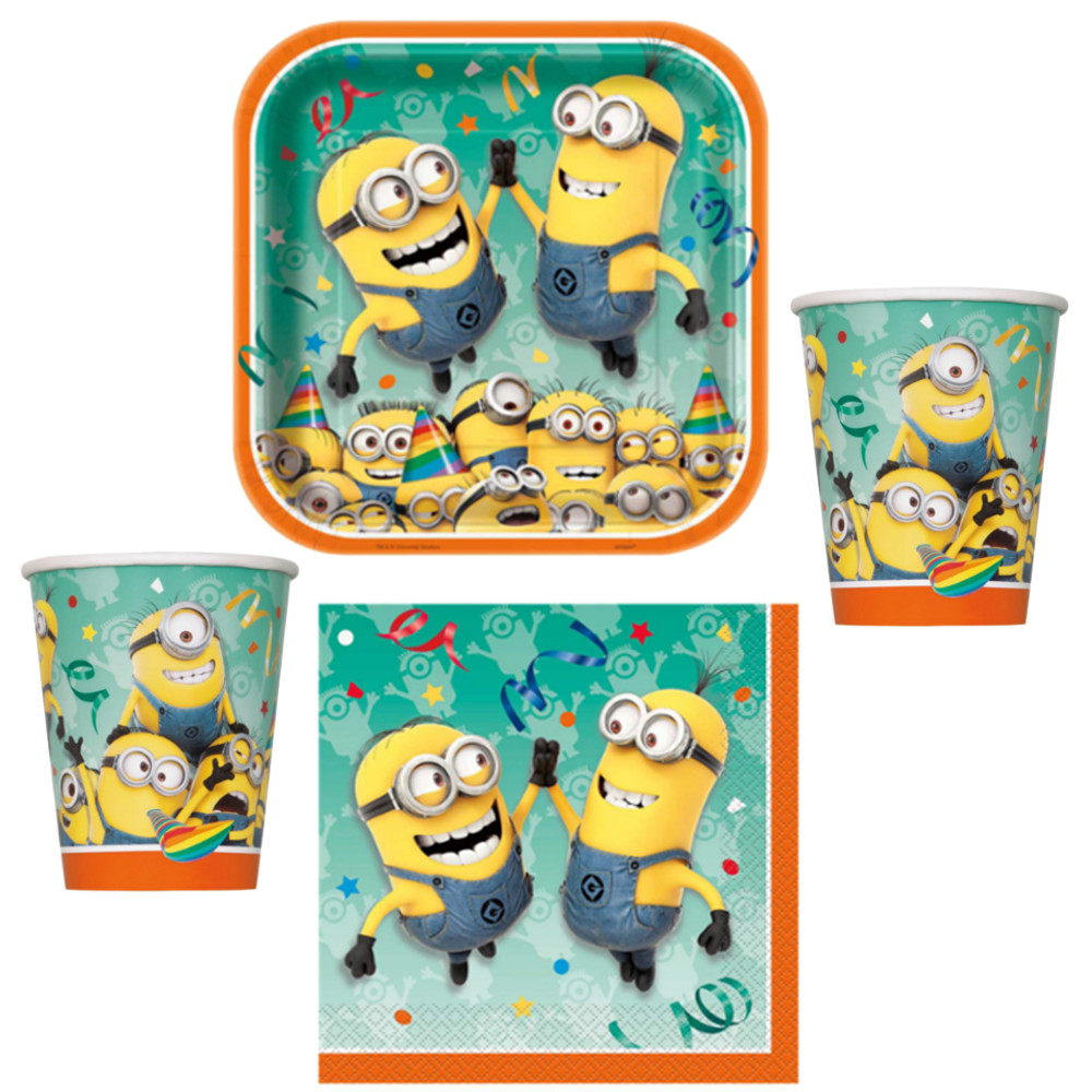 xl party set 50 tlg minions party geburtstag deko f r 8 kinder komplettset ebay. Black Bedroom Furniture Sets. Home Design Ideas